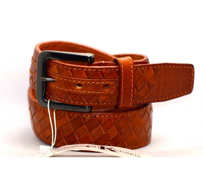Мужской ремень джинсовый Exclusive ck40-045 коричневый