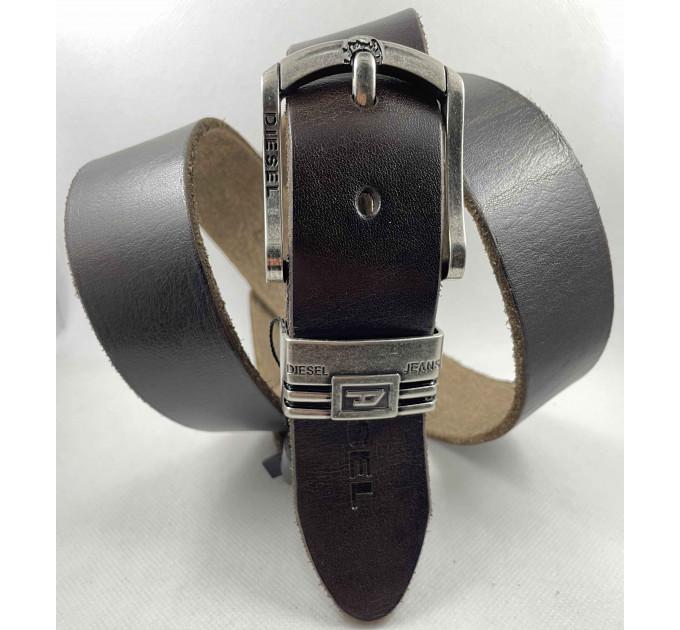 Мужской ремень джинсовый Exclusive DS40-112 темно-коричневый
