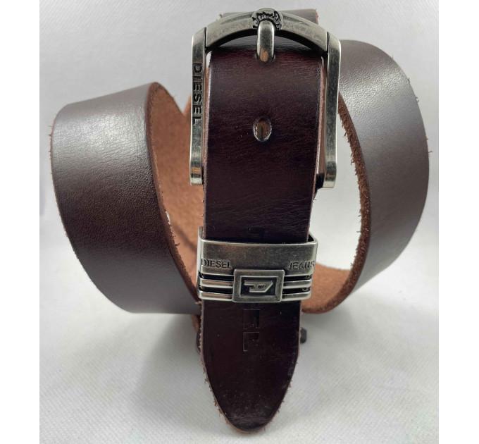 Мужской ремень джинсовый Exclusive DS40-113 коричневый