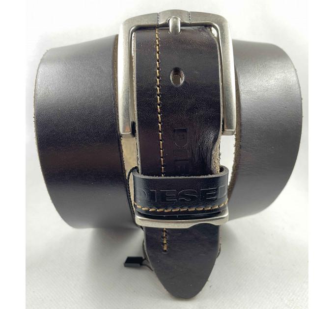 Мужской ремень джинсовый Exclusive DS40-117 темно-коричневый