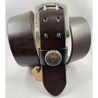 Мужской ремень джинсовый Exclusive DS45-004 темено-коричневый