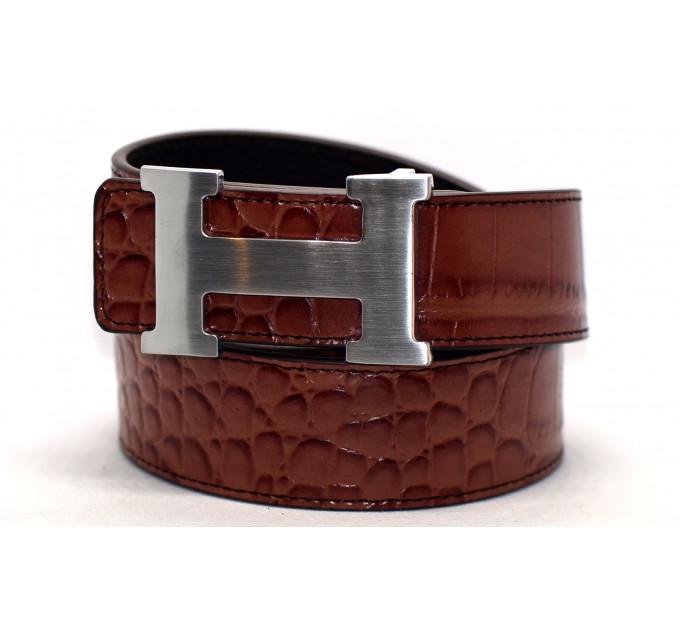 Ремень джинсовый H40-009 коричневый