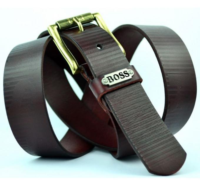 Мужской ремень джинсовый Exclusive hb40-001 коричневый