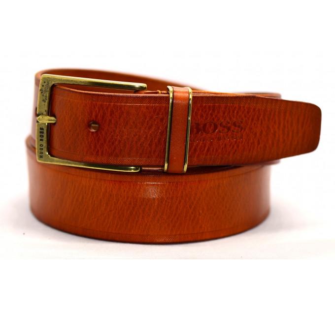 Мужской ремень джинсовый Exclusive hb40-022 оранжевый