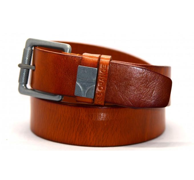 Мужской ремень джинсовый Exclusive hb40-025 оранжевый