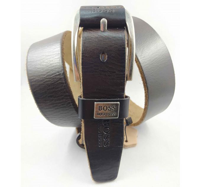 Мужской ремень джинсовый Exclusive hb40-047 темно-коричневый