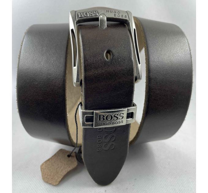 Мужской ремень джинсовый Exclusive hb40-050 темно-коричневый