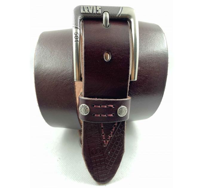 Мужской ремень джинсовый Exclusive Lv40-023 коричневый