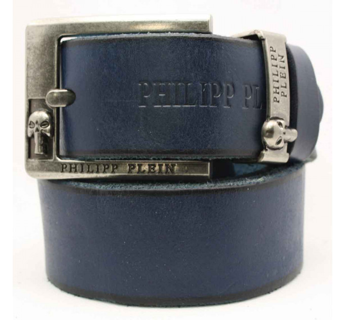 Мужской ремень джинсовый Exclusive PP40-003 синий
