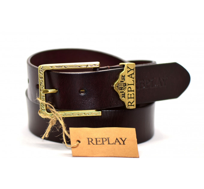 Мужской ремень джинсовый Exclusive rp40-003 коричневый