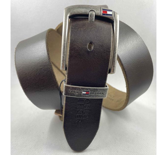 Мужской ремень джинсовый Exclusive TH40-052 темно-коричневый