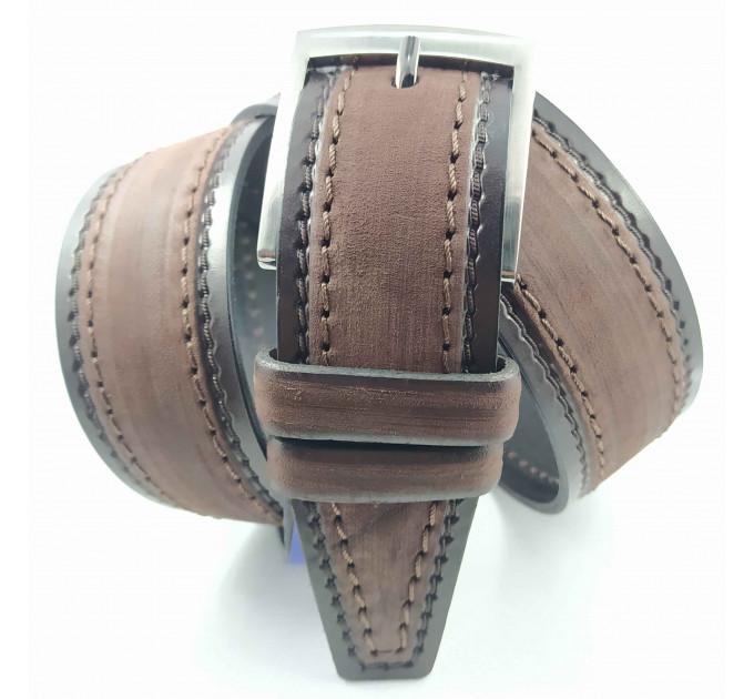 Мужской ремень джинсовый New Style C40-087 темно-коричневый