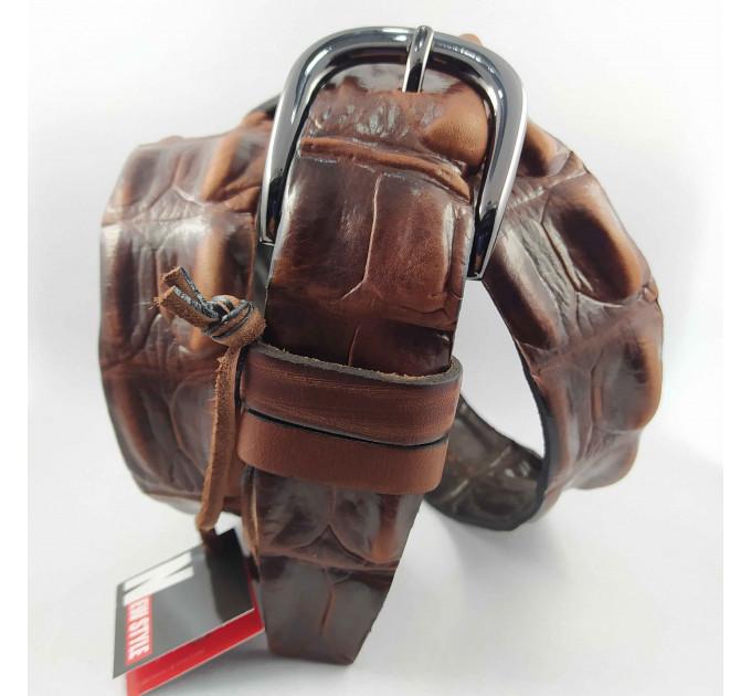 Мужской ремень джинсовый New Style C40-089 коричневый