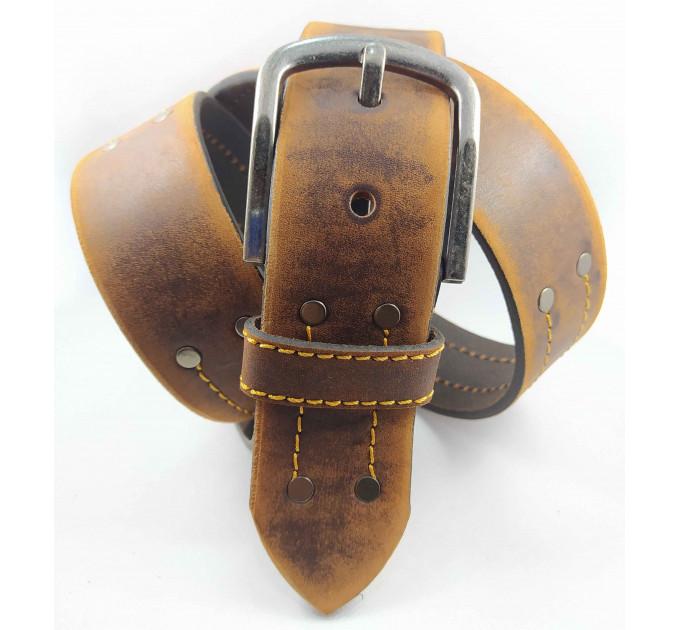 Мужской ремень джинсовый Millennium C45-025 коричневый