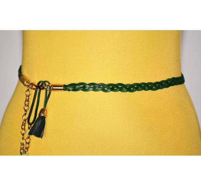 Женский ремень плетеный pl10-002 зеленый