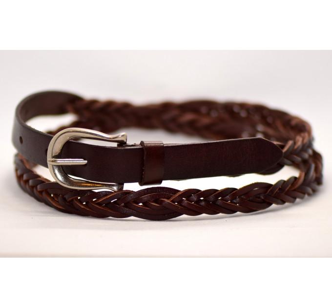 Женский ремень плетеный pl15-006 темно-коричневый