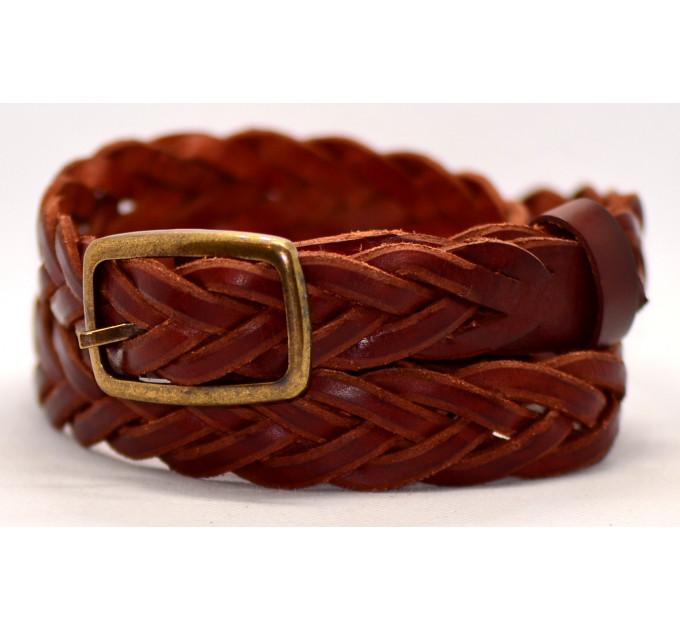 Женский ремень плетеный pl25-001 коричневый
