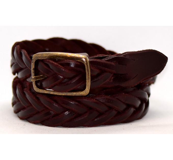 Женский ремень плетеный pl25-005 темно-коричневый