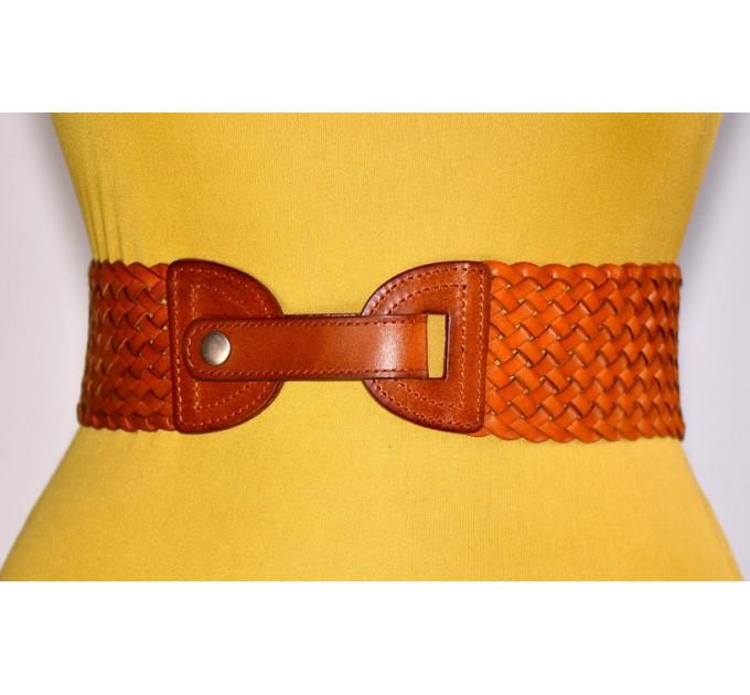 Женский ремень-резинка кожаный KR70-003 оранжевый
