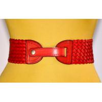 Женский ремень-резинка кожаный KR70-004 красный