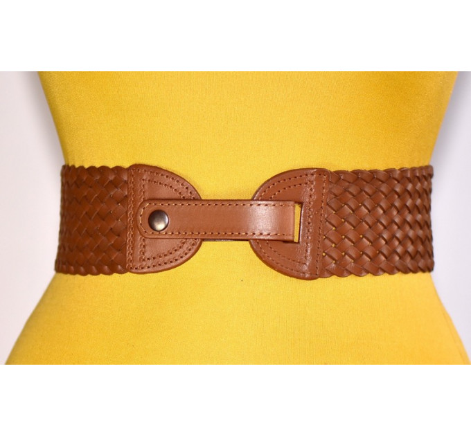 Женский ремень-резинка кожаный KR70-005 коричневый