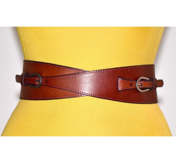Женский ремень-резинка кожаный KR70-018 коричневый