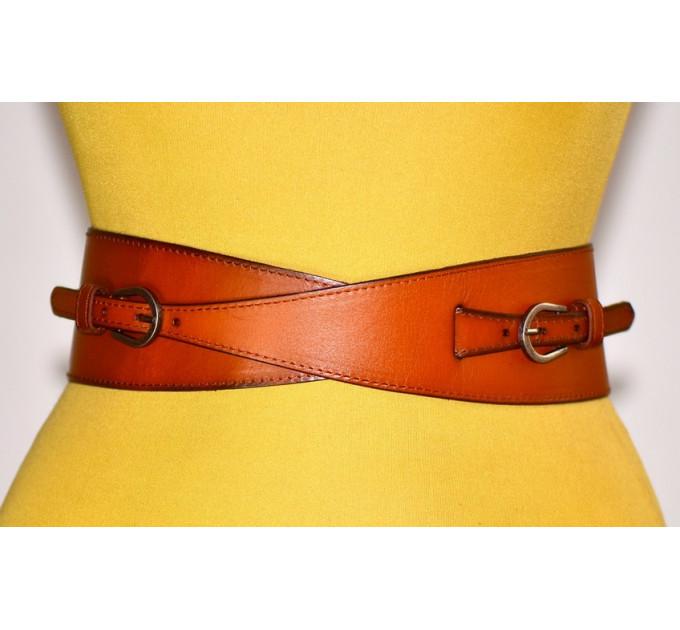 Женский ремень-резинка кожаный KR70-019 оранжевый