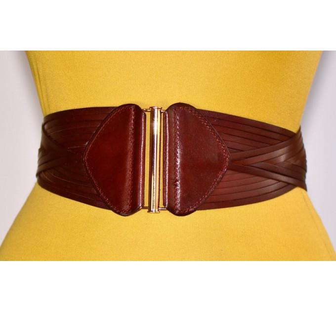 Женский ремень-резинка кожаный KR80-001 коричневый