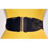 Женский ремень-резинка кожаный KR80-002 черный