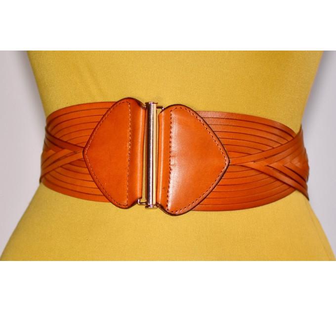Женский ремень-резинка кожаный KR80-003 оранжевый
