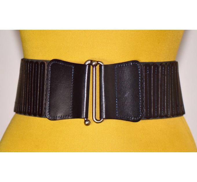 Женский ремень-резинка кожаный KR80-004 черный
