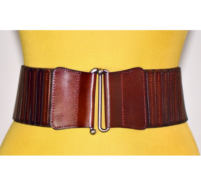 Женский ремень-резинка кожаный KR80-005 коричневый