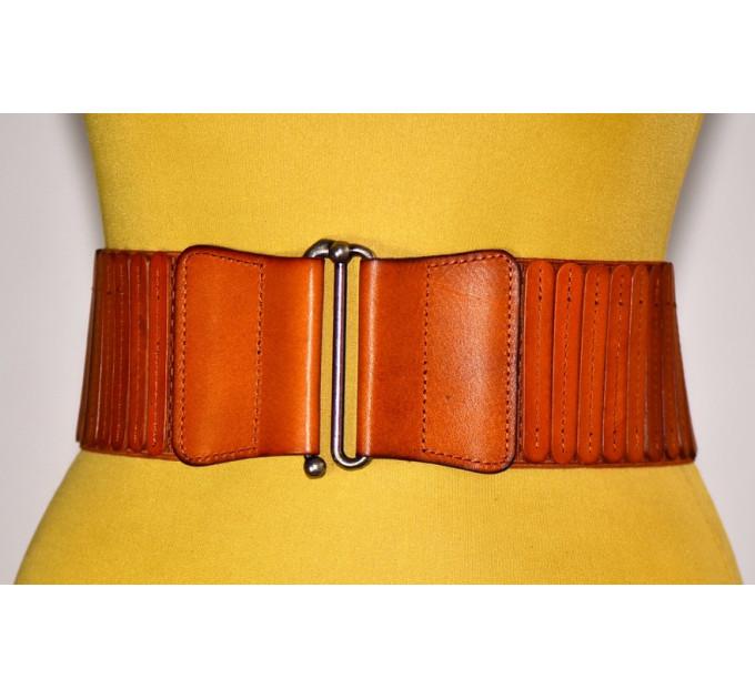 Женский ремень-резинка кожаный KR80-006 оранжевый