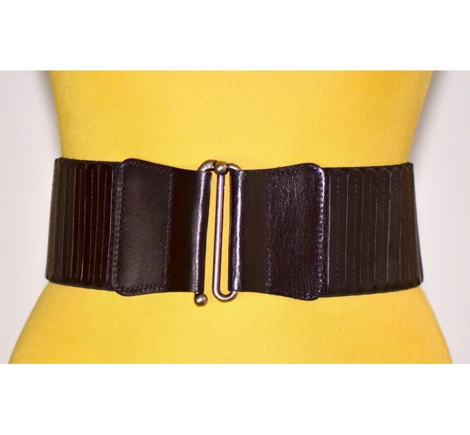 Женский ремень-резинка кожаный KR80-007 черный