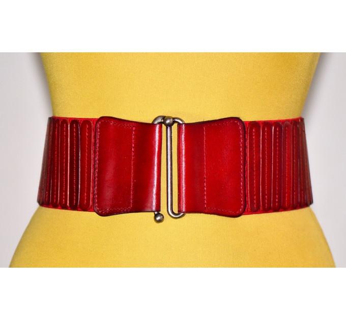 Женский ремень-резинка кожаный KR80-008 красный