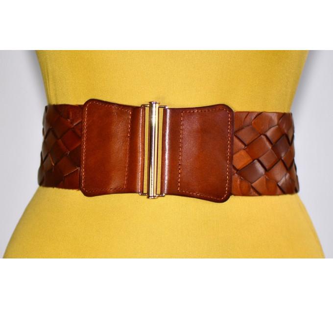 Женский ремень-резинка кожаный KR80-009 коричневый