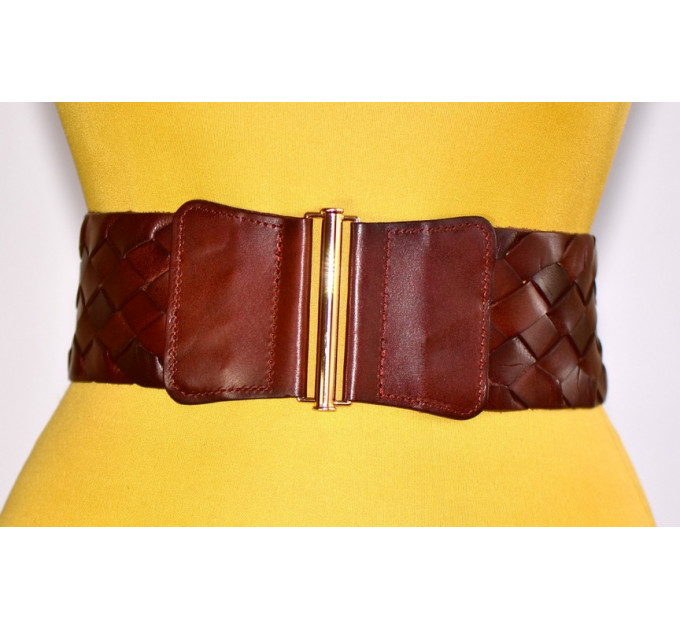 Женский ремень-резинка кожаный KR80-010 коричневый