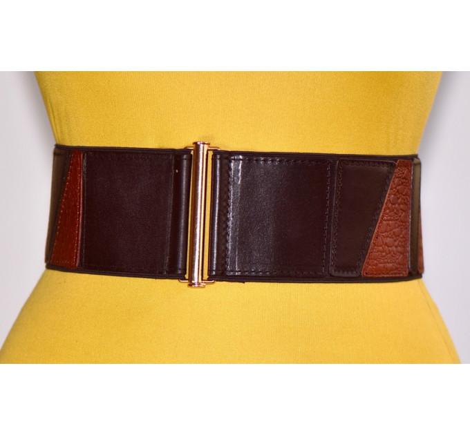 Женский ремень-резинка кожаный KR80-011 коричневый